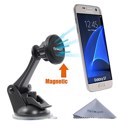 Car Mount, Wisdompro Universal Magnetic Windshield Dashboard Car Mount Phone Holder for iPhone 5, 6, 6 Plus, 7, 7 Plus, Samsung Galaxy S8 S7 S6 S5, Edge, Note 5, 4, GPS - Swiveling