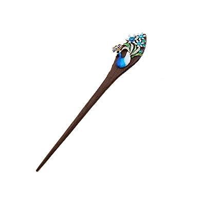 Salvus App SOLUTIONS Crystal Peacock Wood Ethnic Hair Sticks