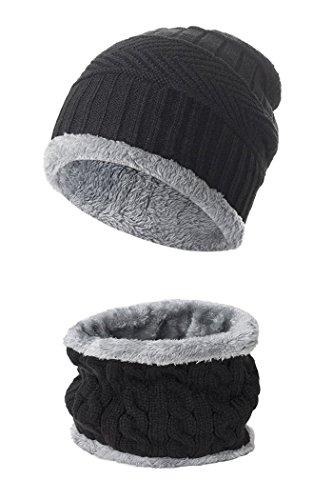 Beaii Sombrero de punto de calentamiento para hombres con forro polar Bufanda Negro-s