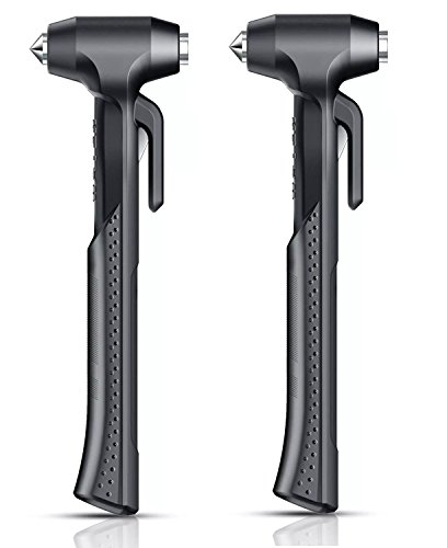 Cone Razor Stand - SINSEN Car Safety Tool Car Escape Hammer Large Handle Emergency Escape Tool Breaking Door Glass Window Cutting Stuck Seat belts for Family Rescue & Auto Emergency Escape Tools (Black 2Pack)