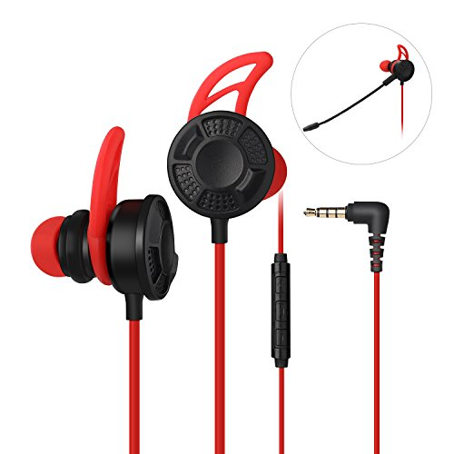 Gaming Earbuds - Gaming Earphone, Vogek Stereo E-Sports Earbuds Bass in-Ear Headphones with Dual Mic 3.5 MM Supports for Nintendo Switch, PS4, PC Laptop and Smart Phone
