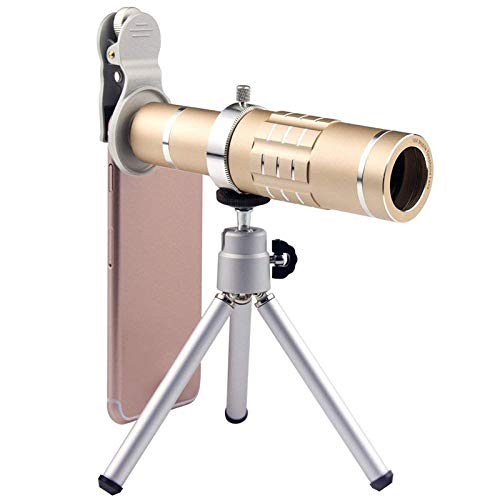 HD Telescope Universal 18X Zoom Telescope Telephoto Camera Lens with Tripod Mount & Mobile Phone Clip (Color : Gold) by Gladnt