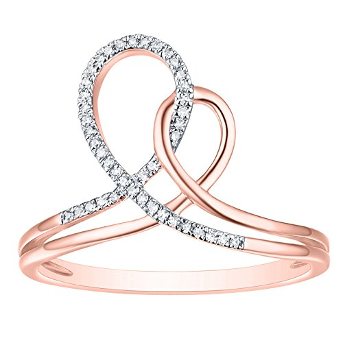 Prism Jewel G-H/I1 Natural Round Diamond Light Weight Cross Cross Ring, 14k Rose Gold Size 10 by Prism Jewel