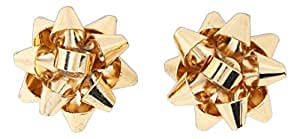 Holiday Metal Gift Bow Stud Earrings (Gold Tone)