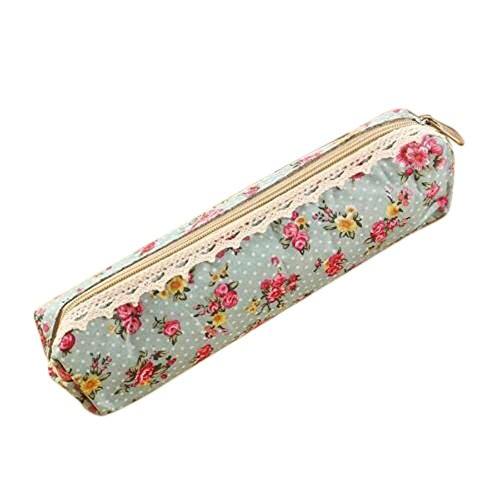 Pencil Case Canvas Vintage Floral Lace Zipped Holder Stationery school Pouch Storage Bag for School Girls (C)