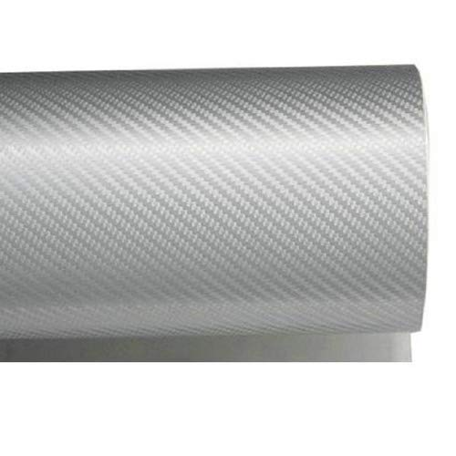 (iJDMTOY 24 by 48 inches 3D Twill Weave White Silver Carbon Fiber Vinyl Sheet)