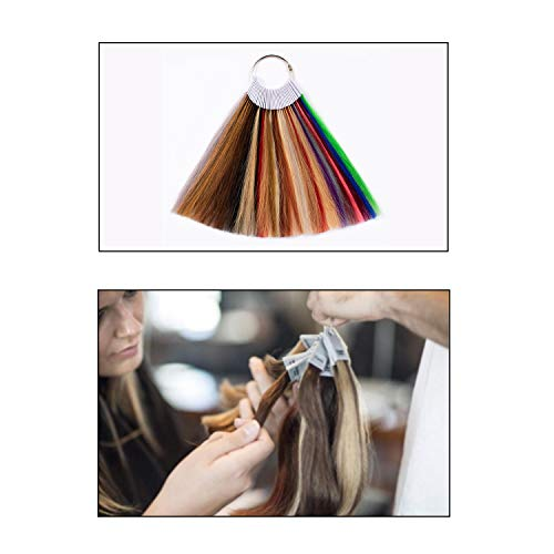TOFAFA Hair Color Rings 100% Human Hair Swatches Testing Color Samples 8  inch 34 Kinds of Hair Color