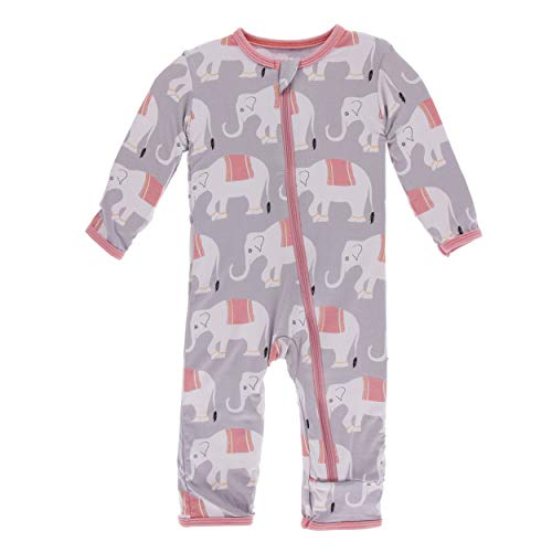 (Kickee Pants Little Girls Print Coverall with Zipper - Feather Indian Elephant, 6-9 Months)