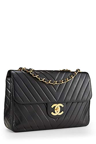CHANEL Black Chevron Quilted Lambskin Flap Maxi (Pre-Owned)