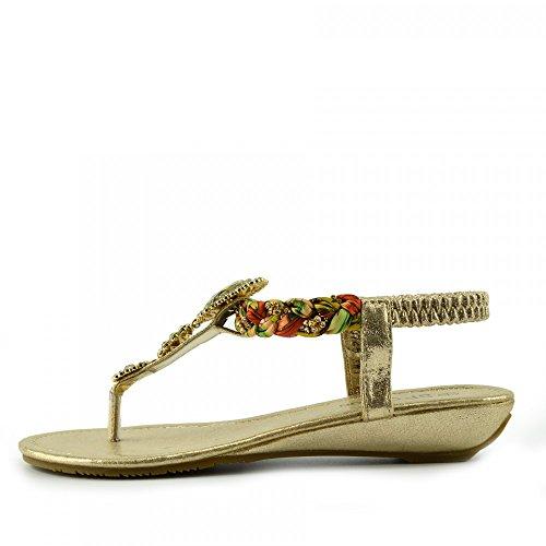 Kick Footwear - DAMEN FLACH GLADIATOR SOMMER STRAND FLIP-FLOP-URLAUB SANDALEN SCHUHE Gold Modell-Nr. 2