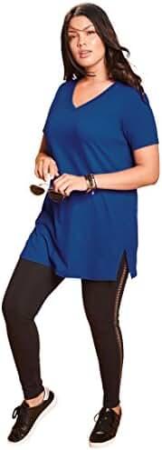 Roamans Women's Plus Size V-Neck Max Tunic Dark Sapphire,6X