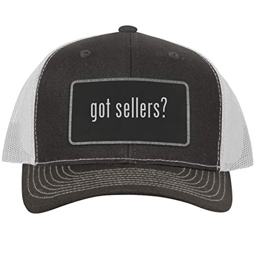 got Sellers? - Leather Black Metallic Patch Engraved Trucker Hat, GreyWhite, One Size (Best Selling Items On Poshmark)