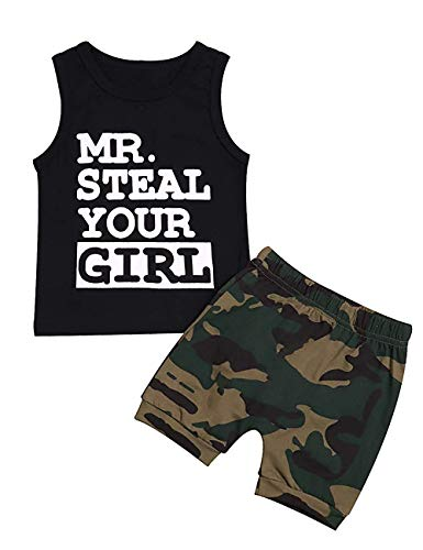 Toddler Baby Boys Clothes Mr Steal Your Girl Cotton Vest Tops +Camouflage Shorts Summer Outfit Set (z Black, 6-12 Months)