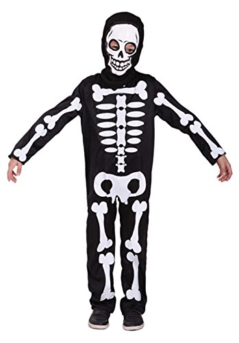 Child Skeleton Costumes Role Play Boys Halloween Cosplay Jumsuit with Face Mask (Medium) Black ()