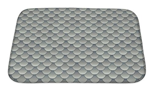 r Bathroom, Memory Foam Non Slip, Silver Fish Scale Or Metal Armor Pattern Illustration, 24x17, 5373211GN ()