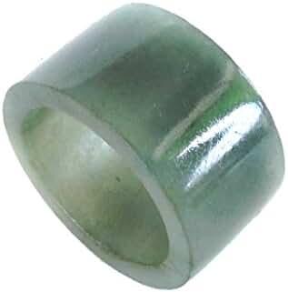 KARATGEM Green Jadeite Jade Ring 15 mm Wide Thumb Men Archer Ring US Size 4.5-13