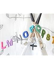 Alphabet Garland, Rainbow ABC Toy Kids Room Decor, Alphabets Wool Felt, A to Z Educational Baby Nursery Wall Hanging, Colourful Banner Bunting Decoration, Cloud Den