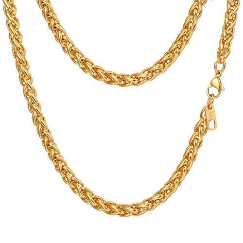 PROSTEEL 18K Gold Plated Wheat Chain Layering Necklace Twisted Foxtail Woven Chain Mens Women Jewelry 6mm Hip Hop Gold Chain for Men