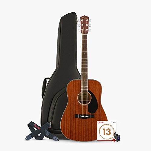 Fender CD -60S All Mahogany with Guitar Gig Bag, Clip-On Tun