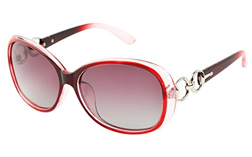 Beison Classic Women's Shades Oversized Glasses Polarized Sunglasses UV400 (Red frame / Gradient red, - Sunglasses Red Polarised
