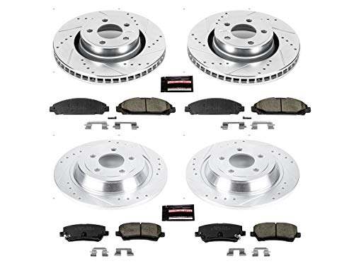 Power Stop K6808 Front & Rear Brake Kit with Drilled/Slotted Brake Rotors and Z23 Evolution Ceramic Brake Pads