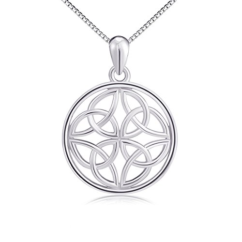 925 Sterling Silver Good Luck Irish Celtic Knot Round Pendant Necklaces, Box Chain 18