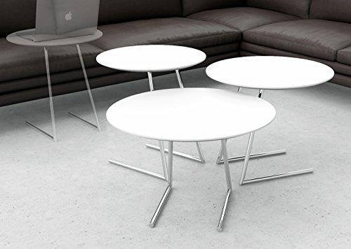 Lara Designs Cricket Table Set, White (3 Piece Round Coffee Table)
