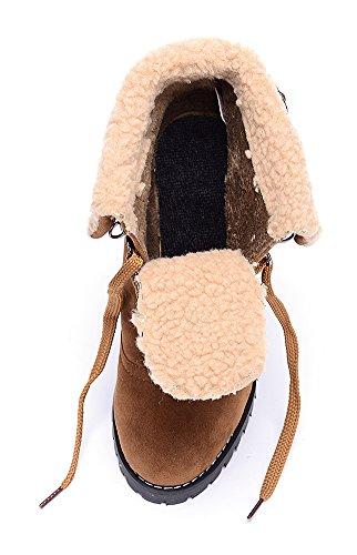 Fond brun Epais Lacet Martin Femme Bottes ODEMA clair xTw1qHIOC