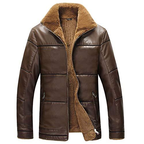 - Winter Leather Jacket Men Windbreak Outwear Brown XL