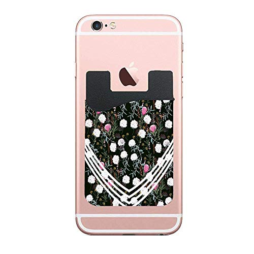 CardlyPhCardH Floral Pattern Hydrangea Leaves White Stripes on Green Credit Card Holder for Back of Phone Wallet Functioning as Phone Card Holder, Phone Card Wallet, iPhone Card