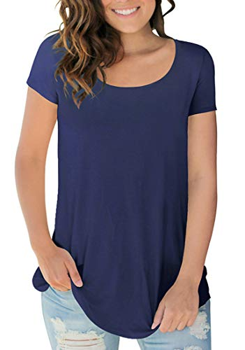 (Women's Stretch Short Sleeve Scoop Neck Tshirts Breathable Tops Navy Blue S)