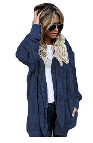 donna sintetica invernale Auspicious casual alla invernale beginning pelliccia Cappotto tasche con Blu moda di qqvwUI