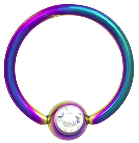 Jeweled Steel Captive Ring (16g 3/8 Inch Surgical Steel Rainbow IP Plated Jeweled Captive Bead CBR Hoop Ring)