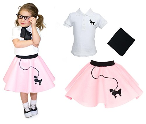 [Toddler 3 Piece Poodle Skirt Costume Set Light Pink 3T] (Pin Up Girl Costume Halloween)
