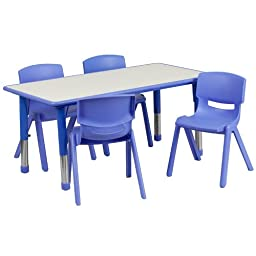 Flash Furniture Rectangular Adjustable Plastic Activity Table Set with 4 School Stack Chairs, 23.625 by 47.25-Inch, Blue