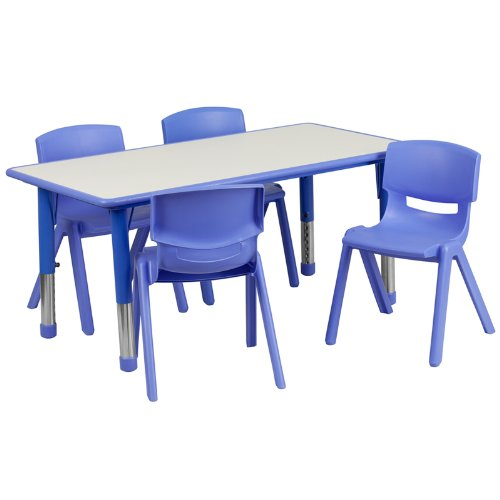 Flash Furniture 23.625''W x 47.25''L Rectangular Blue Plastic Height Adjustable Activity Table Set with 4 Chairs (Plastic Chairs And Tables For Sale)