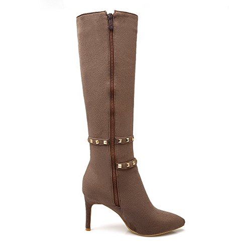 Allhqfashion Women's Materials Boots Zipper Brown Toe Closed Stilettos Pointed Solid Spikes Blend 1AqR7