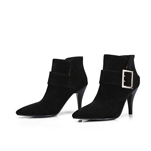 Allhqfashion Dames Geïmiteerd Suede Mix Materialen Hoge Hakken Laarzen Met Metalen Gespen Zwart