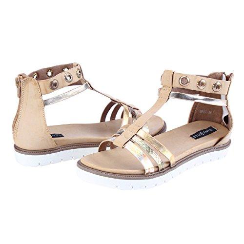 Damara Mujeres Sandalias Planos Con Cierre De Cremallera Zapatillas Zapatos Beige