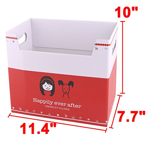 uxcell Paper Girl Pattern School Office Rectangular DIY File Documents Book Holder Storage Box by uxcell (Image #1)