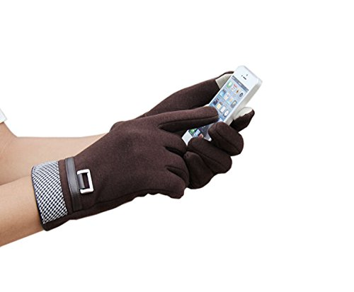 Olyer Men's Mirco Velvet Gloves Warmer Gloves With Touch Screen Finger Tip (Coffee) by Olyer