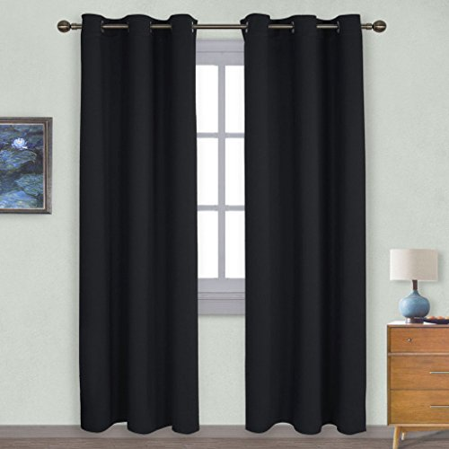 NICETOWN Autumn / Winter Thermal Insulated Solid Grommet Blackout Curtains / Drapes for Livingroom (Set of 2,42 Inch by 84 Inch,Black)