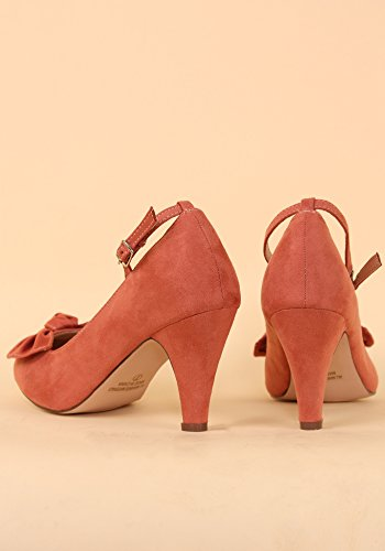 ... Chase & Chloe Kvinners Retro Kimmy-67 Bue Foran Faux Suede Mary-jane  Pumper ...