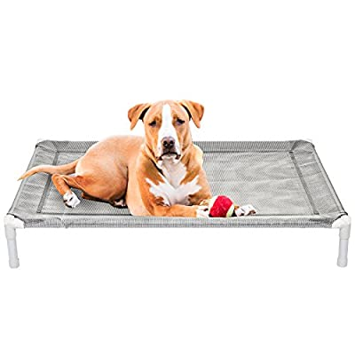Elevated Cooling Dog Bed, Knitted Fabric Pet Cot, Portable