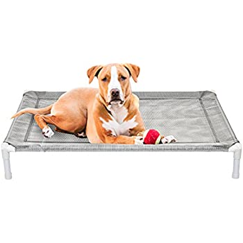 Attractive Elevated Cooling Dog Bed Knitted Fabric Pet Cot Portable (Medium)