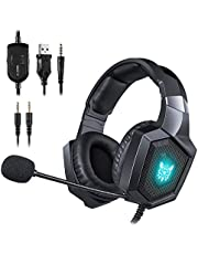 ONIKUMA Gaming Headset - Updated K8 Headset Gaming for PS4 New Xbox One, Stereo Over-Ear Headphones & Noise-canceling Microphone with Mic for PC Computer Mac Laptop Nintendo Switch Games