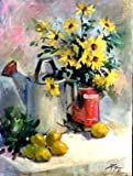 Brown-eyed Susans w/ Tin Water Can Joyce Pike DVD Art Instruction of Floral Still Life , Oil Painting DVD