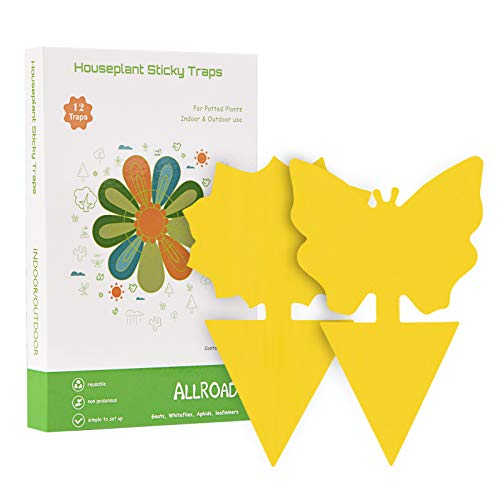 ALLRoad 12 pcs Yellow Sticky Trap,Fruit Fly and Gnat Trap Disposable Glue Bug Traps for Indoor/Outdoor Use - Insect Catcher for White Flies,Mosquitos,Fungus Gnats,Flying Insects