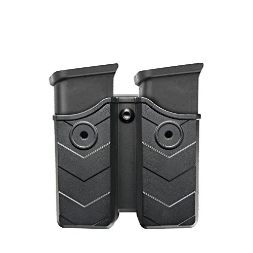 - efluky Double Magazine Pouch - 9mm/.40 Cal Magazine Holster Double Stack Magazine Holder with Belt Clip for Glock/H&K/S&W/Ruger/Sig Sauer/Springfield/Taurus/Beretta/CZ/Walther and More