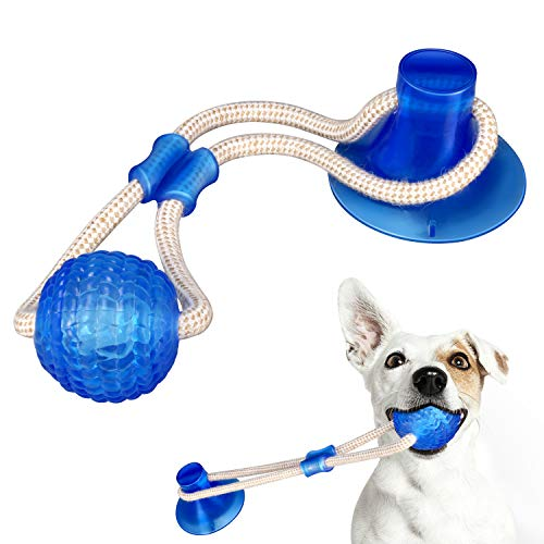 Yosemy Multifunction Pet Molar Bite Toy Dog Ropes Toy, Self-Playing Rubber Ball Toy with Suction Cup Molar Chew Toy…